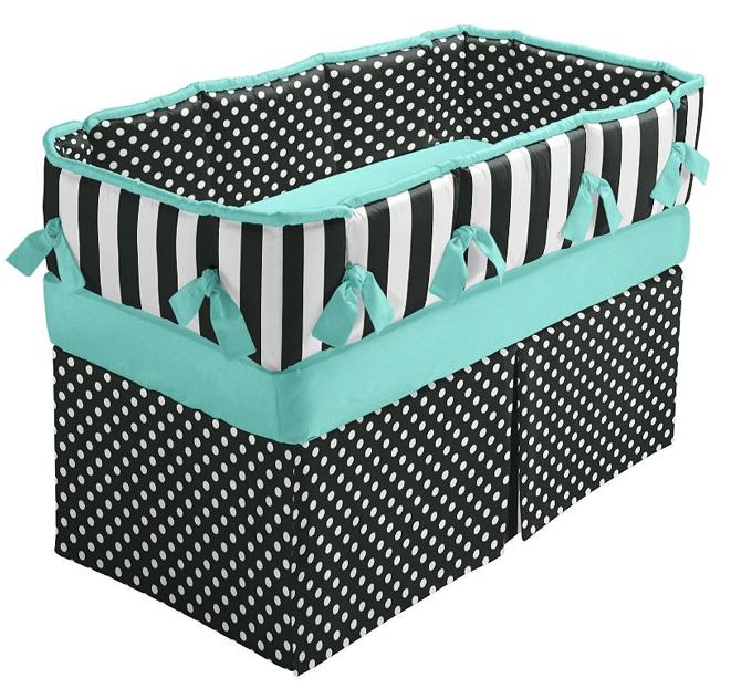 Turquoise Damask Crib Bedding